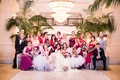 lesbian wedding, same-sex wedding party with two brides, bridesmen, flower girls in fairy wings