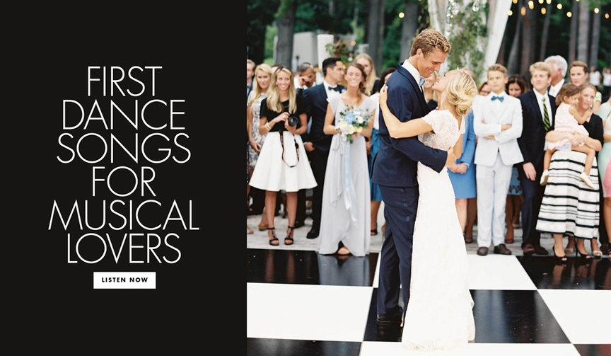 First dance songs for musical lovers broadway wedding ideas