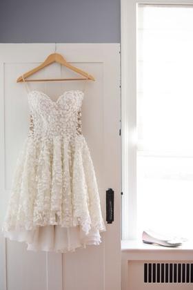 Mark Zunino short wedding dress Kleinfeld Bridal flower detailing