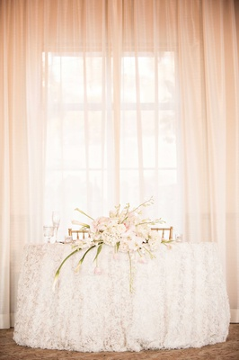ivory sweetheart table blush white arrangement without vase simple classic california wedding
