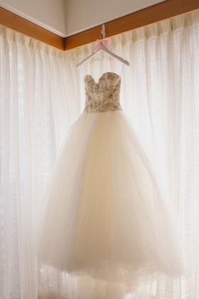 Kenneth Pool wedding dress strapless ball gown with beaded bodice and sweetheart neckline