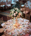 omni william penn grand ballroom wedding reception, subtle blush and gold