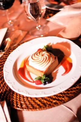 Square dessert with fruit sauce decoration