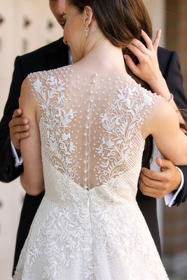 Sabrina Dahan wedding dress beautifully embellished illusion back with pearls and embroidery