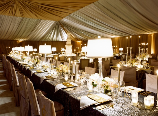 Wedding reception with sparkle sequin linen in tent