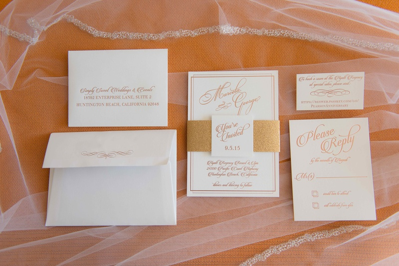 White and gold peach rose gold wedding invitation suite vow renewal anniversary party
