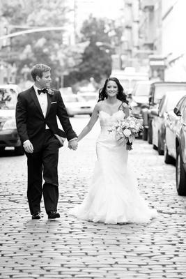 Bride and Groom Romantic portraits on cobblestone streets of Soho NY