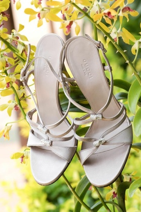 Taupe and crystal Gucci wedding sandals