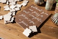 Blank puzzle pieces for guest book alternative wood sign with calligraphy