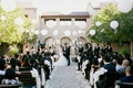 bride and groom married in senna plaza, paper lanterns and string lights, outdoor ceremony