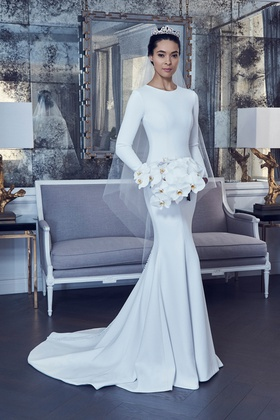 Romona Keveza Spring 2019 collection crepe long sleeve trumpet gown