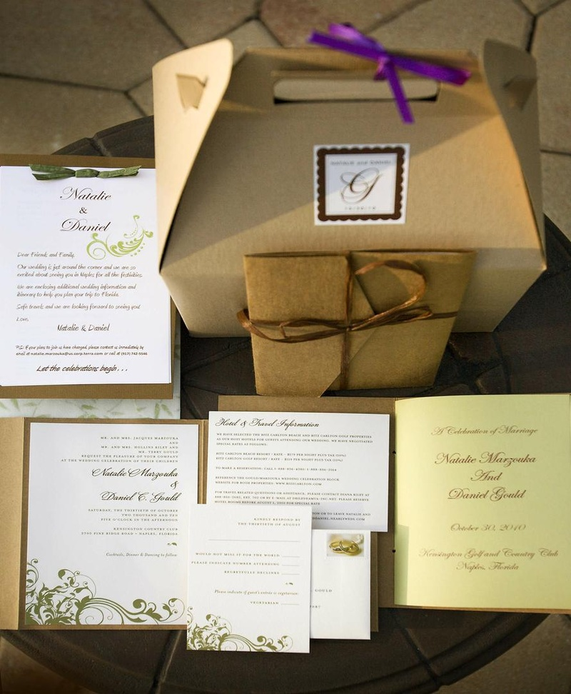 Neutral tan wedding invite with white and green design