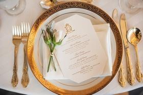 gold and blush place setting newport wedding