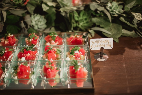 watermelon mint feta salad bites for cocktail hour with calligraphy sign