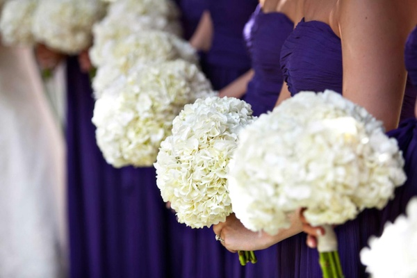 Bridesmaids in purple carrying white nosegays