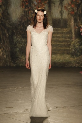 """Beaded bias cut """"beatrice gown"""" with cap sleeves and allover beading by jenny packham"""