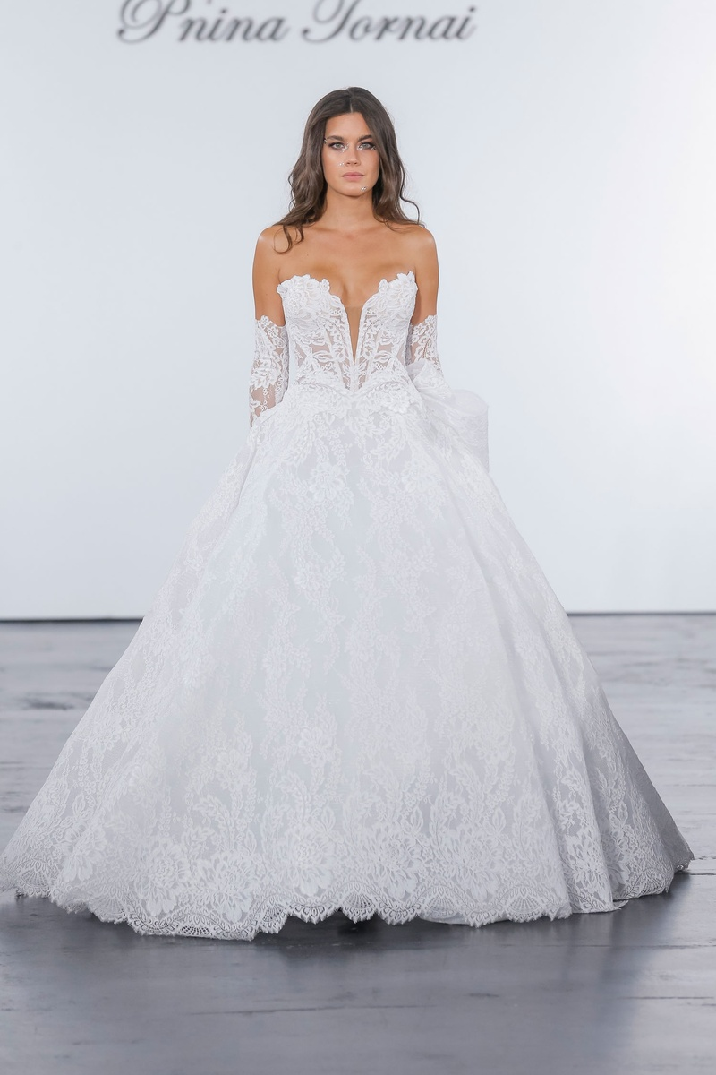 Pnina Tornai for Kleinfeld 2018 wedding dress lace ball gown plunging v neck strapless arm details