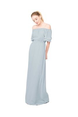 Joanna August Maggie off the shoulder short sleeve long bridesmaid dress in light blue
