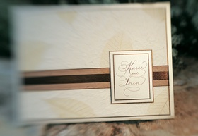 Ivory and champagne wedding invites