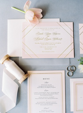 blush white and gold wedding invitation by minted brooke squires mitchell schwartz ribbon rings menu