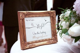 Wedding hashtag sign in gold frame Help us capture the night. Use the hashtag BegginningForever