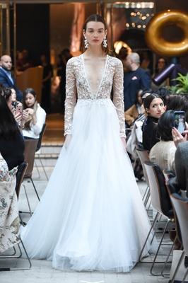 Sachi & Babi Spring/Summer 2018 Long-sleeve ball gown deep V-neck taffeta mirco pearls horsehair