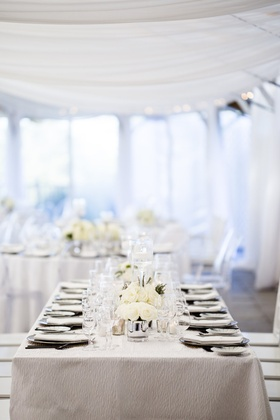 white tablescape low florals grey metallic chargers classic simple shabby chic rhode island wedding