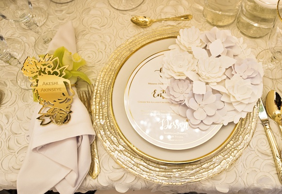 golden rose laser-cut engraved place card, elaborate paper flower