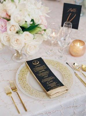 wedding reception embroidery linens gold flatware white rose centerpiece black gold menu card