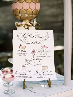 Wedding dessert menu on pastry cart with five dessert choices illustration paintings