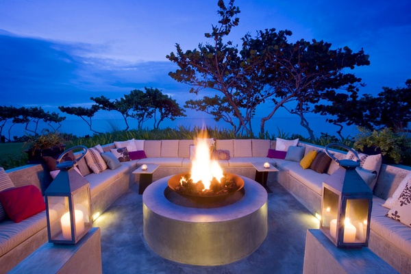 W Retreat & Spa, Vieques Island fire pit at dusk.