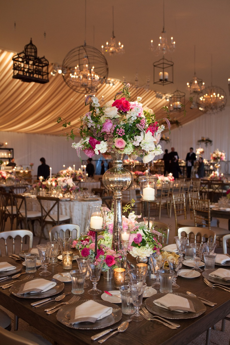 Reception dcor photos white and pink floral arrangement in tall peonies roses hydrangeas tall centerpiece romantic candles tablescape reviewsmspy