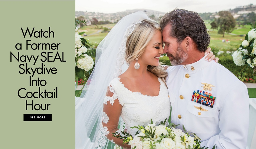 Watch a former navy seal groom skydive into cocktail hour at his wedding