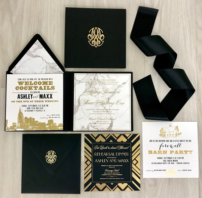white, black, and gold invitation suite with marble motif by nico and lala