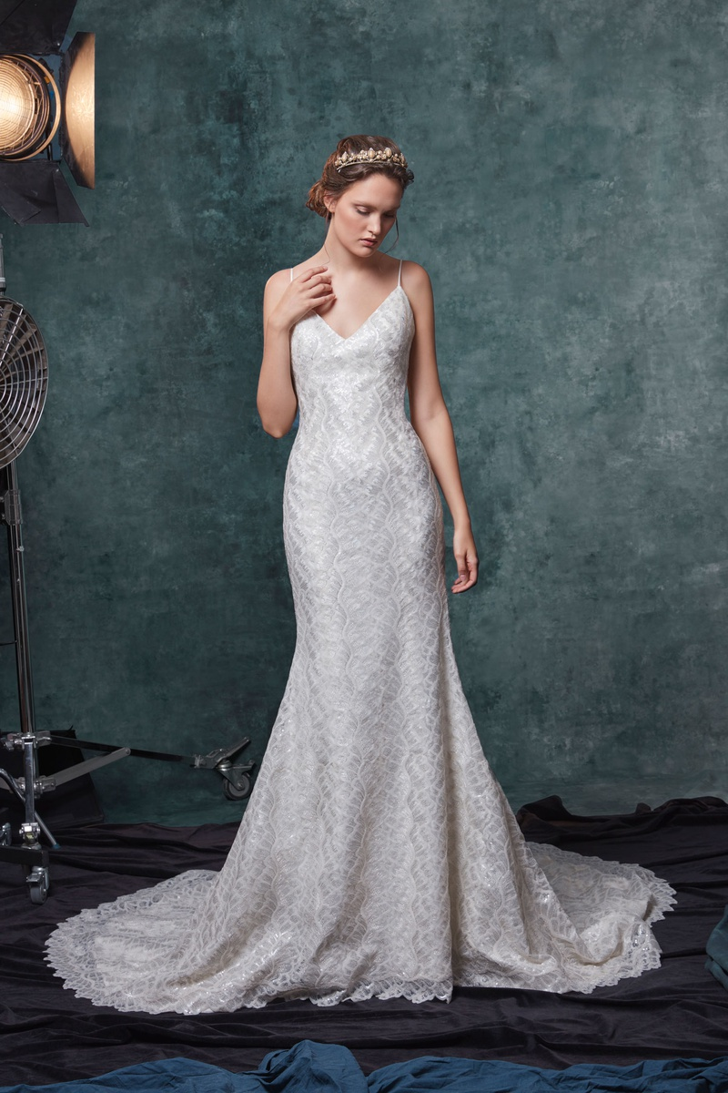 Sareh Nouri fall 2019 bridal collection wedding dress Charlize metallic thread soft trumpet skirt