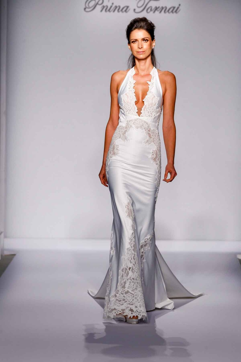 Pnina Tornai for Kleinfeld 2016 v-neck halter wedding dress with lace details