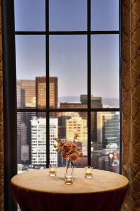 San Francisco skyline through paned window