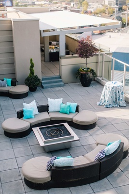 detriot lions quarterback matthew stafford rehearsal dinner outdoor rooftop couches blue pillows