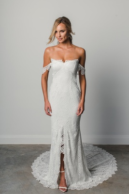 paloma by Grace Loves Lace Elixir, off-the-shoulder lace wedding dress, silver thread scalloped lace