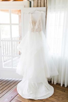 bridal gown wedding dress white v neck gown hayley paige