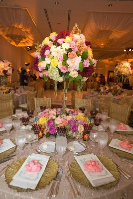 Colorful vintage inspired wedding reception with gold touches