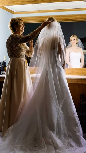 brides mother helping veil long cathedral christian wedding dallas texas traditional church