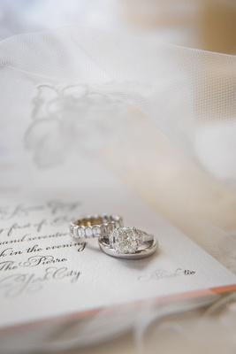 wedding rings eternity band and engagement ring three stone ring black tie wedding invite black tie