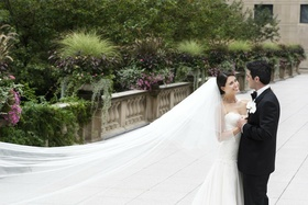 Cathedral length veil with shorter layer