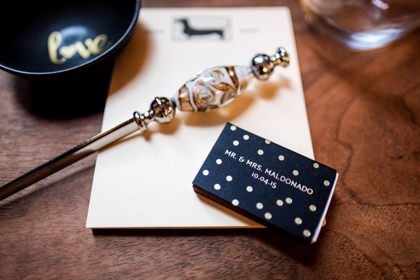 hector maldonado train wedding matchbook black with gold polka dots and wedding date