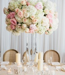 Rustic elegant wedding reception tall glass vase with white hydrangea pink rose blush rose pillar