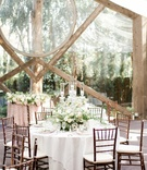calamigos ranch oak room wedding, crystal candelabra with floral arrangement