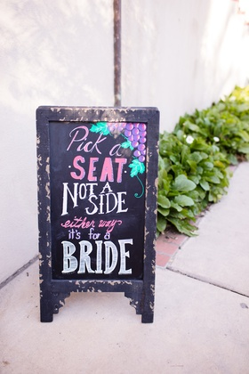 rustic chalkboard sign with grapes, same-sex wedding chalkboard ceremony sign