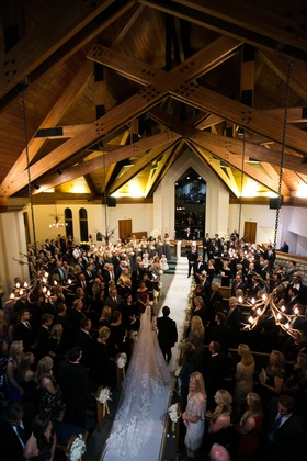 the chapel at beaver creek, church wedding with wooden beams, lace cathedral veil