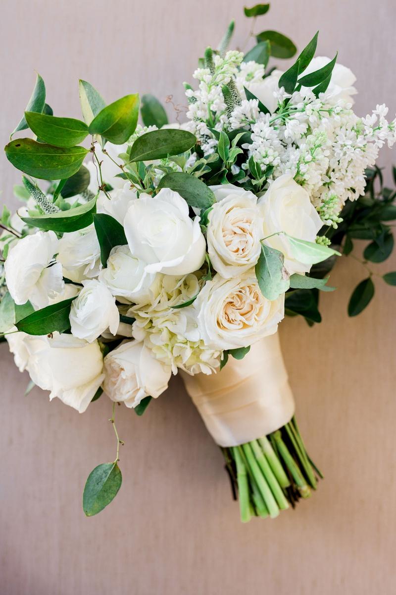Charlise Castro and Houston Astros mlb player George Springer III wedding bouquet rose tulip peony